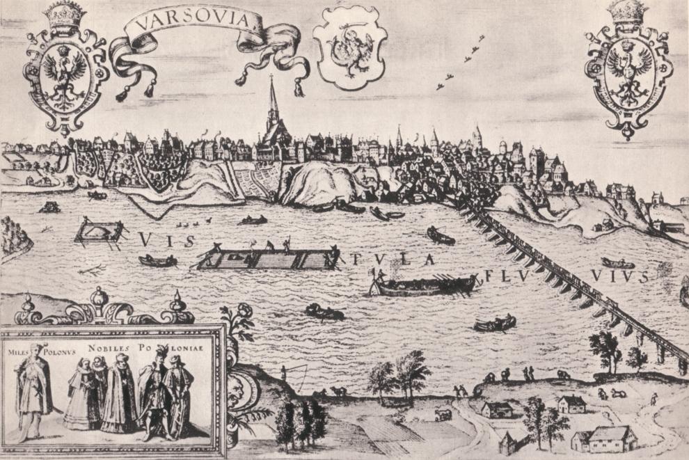 Warszawa po1586, drzeworyt Abrahama Hogenberga według rysunku Jakuba Hofnagla